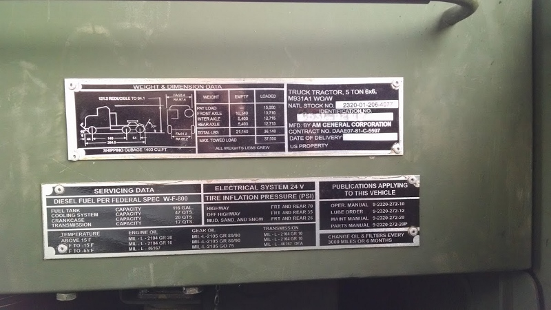 YEAR 1992 MAKE AMERICAN GENERAL MODEL MILITARY TRUCK TRACTOR CATEGORY SERIAL NUMBER O1J5H99441 RATING SELLER INSPECTED